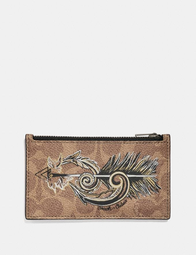 Coach Zip Card Case in Signature Canvas With Tattoo Khaki Men Wallets Card Cases