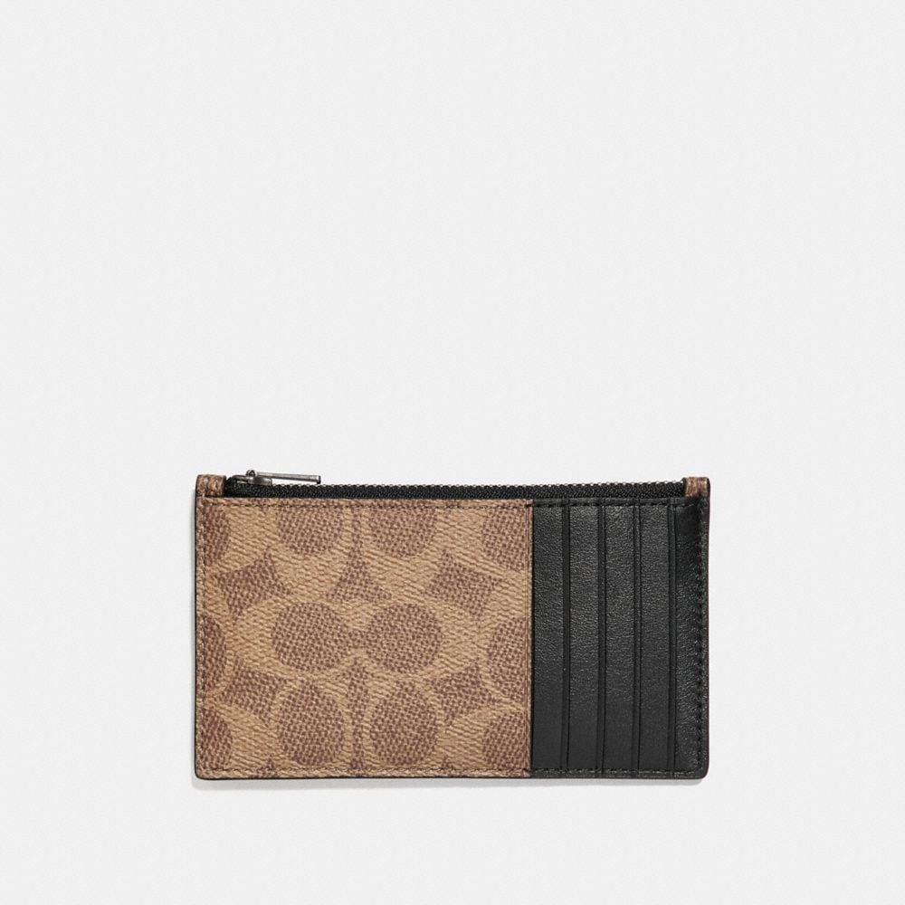 Coach Zip Card Case in Signature Canvas With Tattoo Alternate View 1