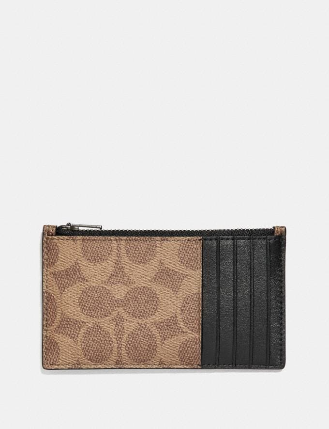 Coach Zip Card Case in Signature Canvas With Tattoo Khaki Men Wallets Card Cases Alternate View 1