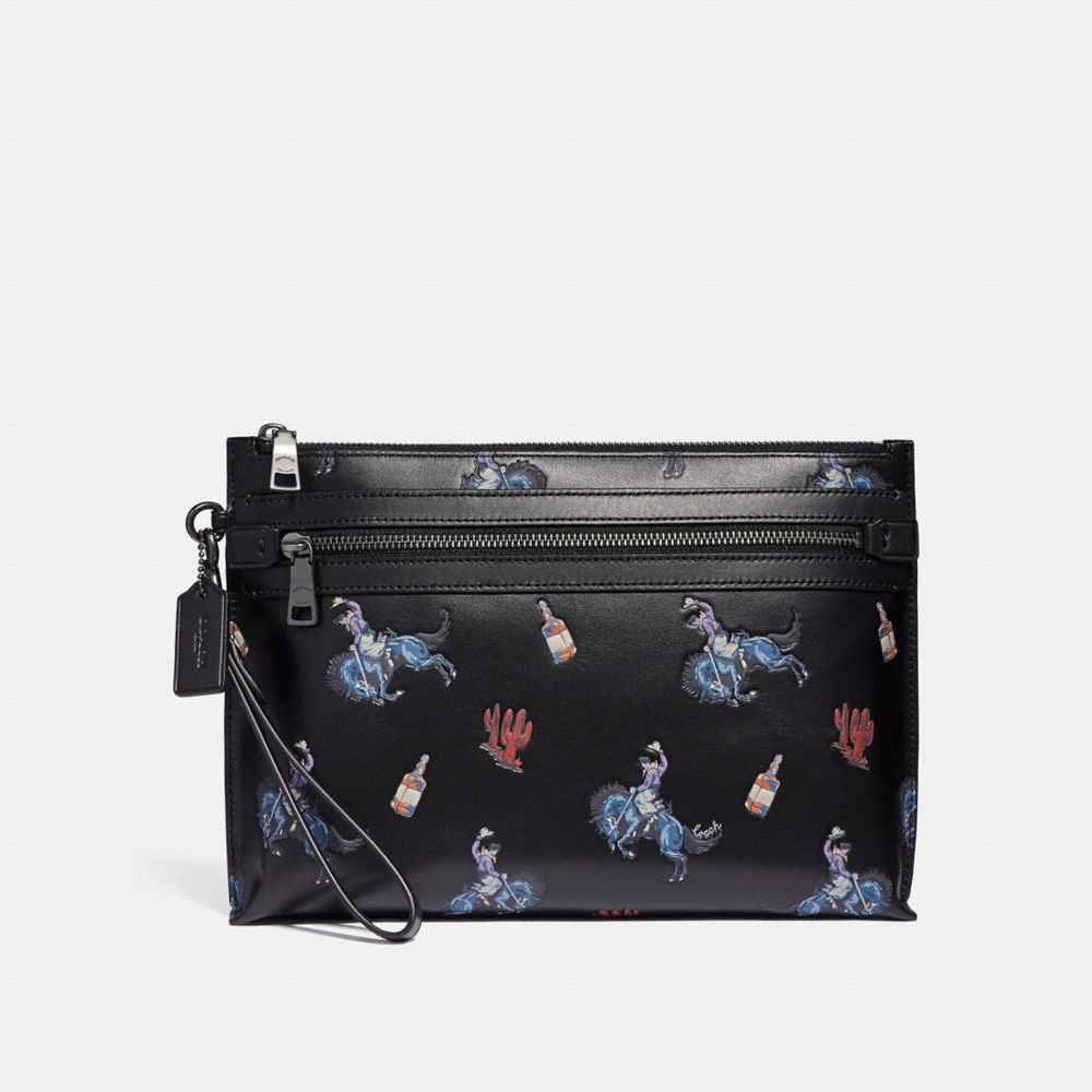 Coach Academy Pouch With Rodeo Print