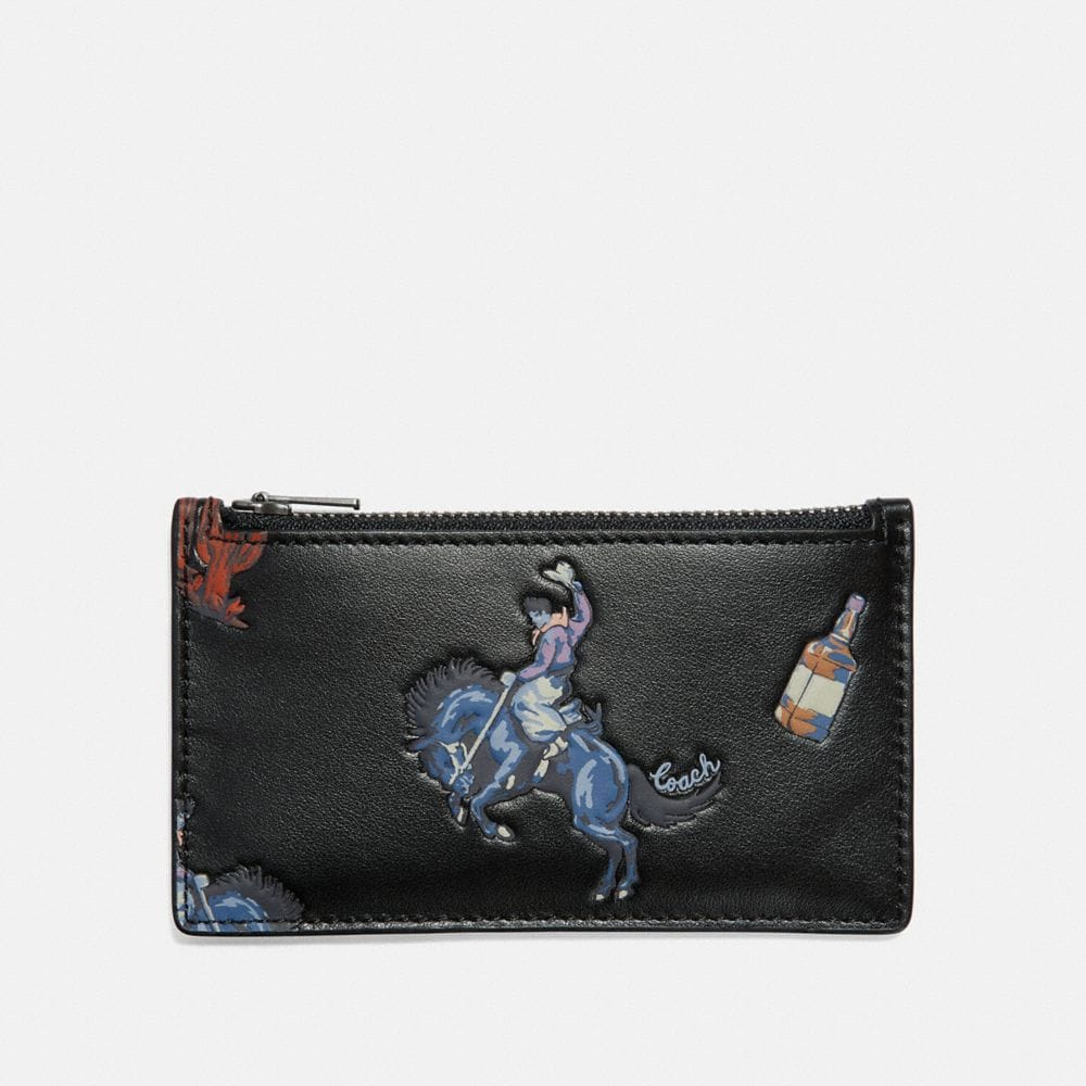 ZIP CARD CASE WITH RODEO PRINT