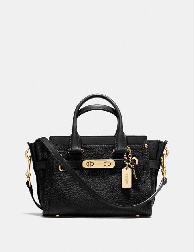 Coach Coach Swagger 20 in Pebble Leather Gold/Oxblood Women Collection Swagger