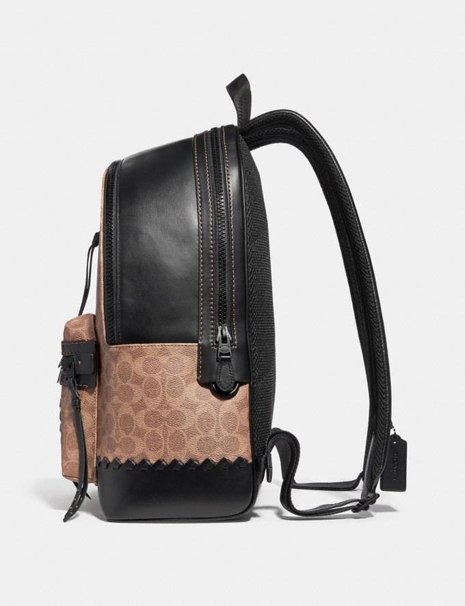 Coach Academy Backpack in Signature Canvas With Whipstitch Black/Khaki/Matte Black Men Bags Backpacks Alternate View 1