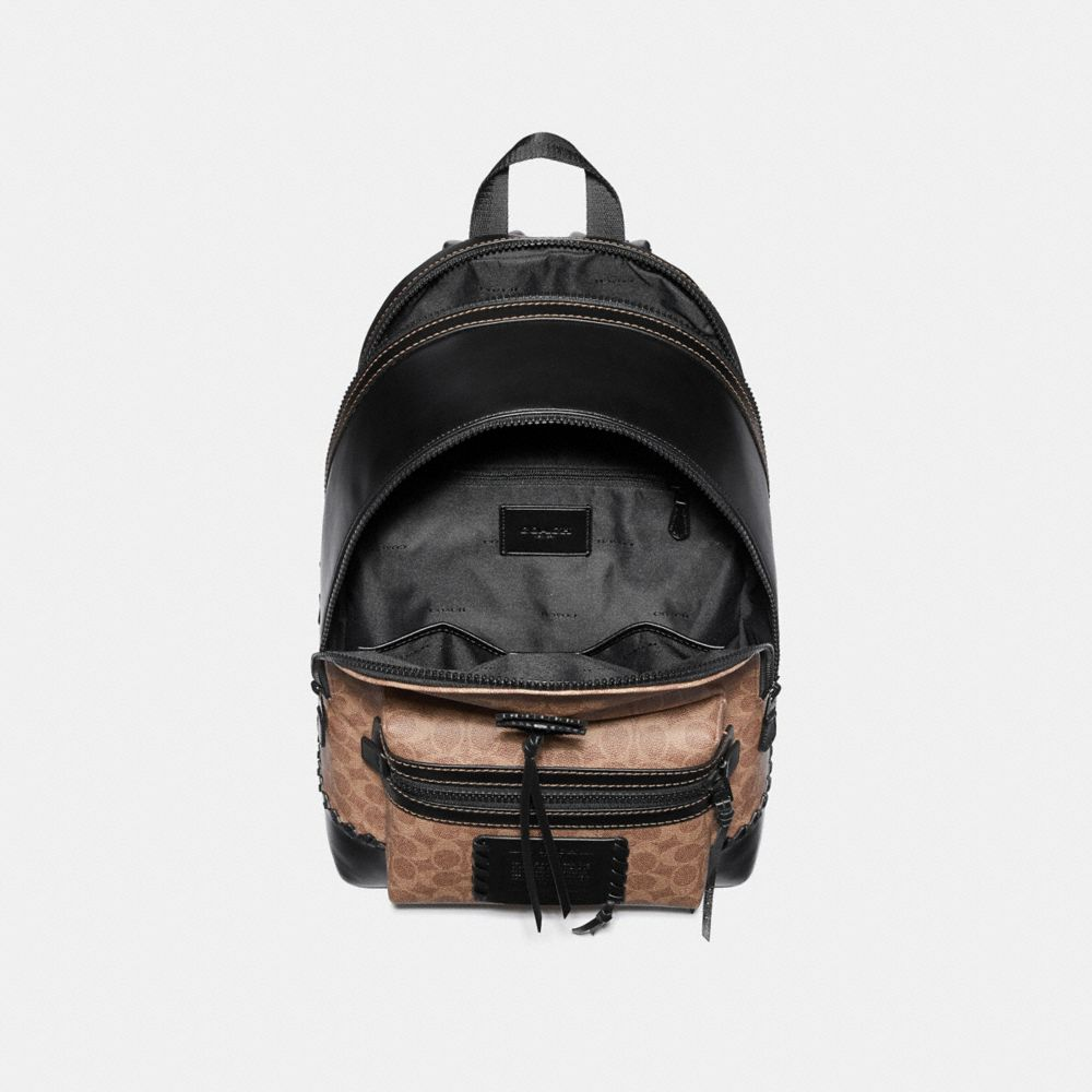 Coach Academy Backpack in Signature Canvas With Whipstitch Alternate View 2