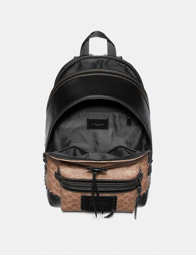 Coach Academy Backpack in Signature Canvas With Whipstitch Black/Khaki/Matte Black Men Bags Backpacks Alternate View 2