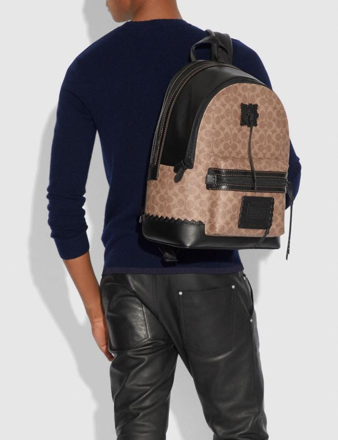 Coach Academy Backpack in Signature Canvas With Whipstitch Black/Khaki/Matte Black Men Bags Backpacks Alternate View 3