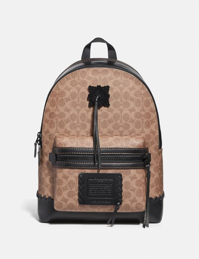 Coach Academy Backpack in Signature Canvas With Whipstitch Black/Khaki/Matte Black Men Bags Backpacks