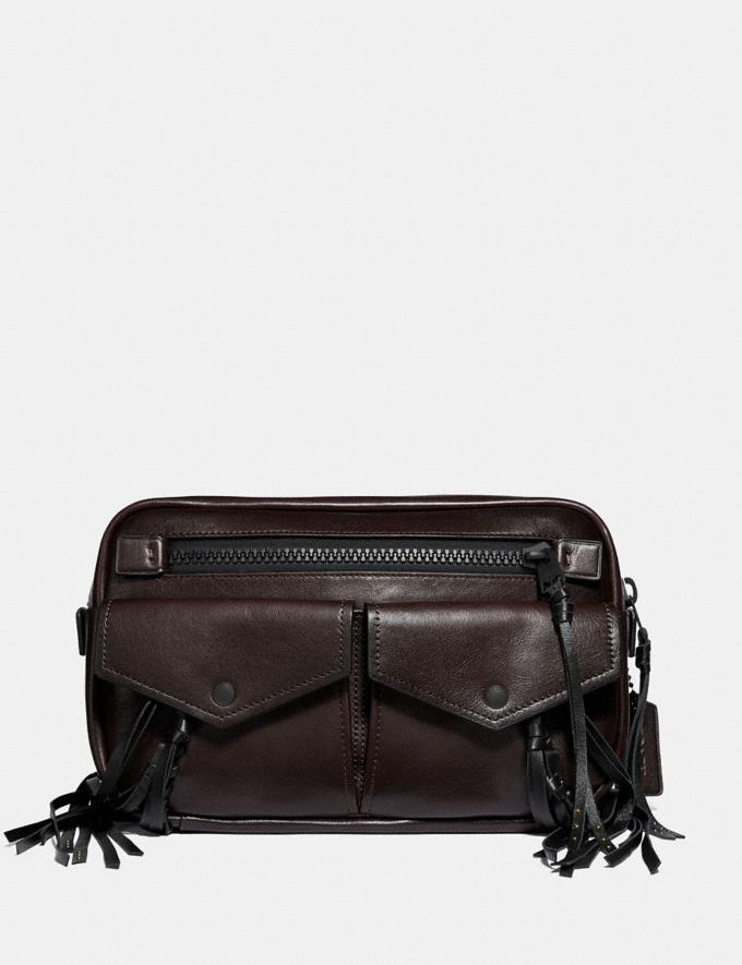 Coach Utility Belt Bag 25 With Whipstitch Mahogany/Matte Black Men Bags Messenger Bags