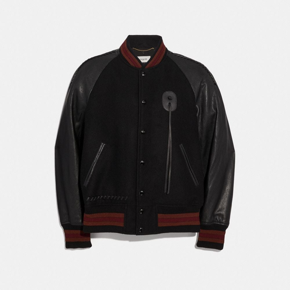 Leather Sleeve Souvenir Jacket in Black