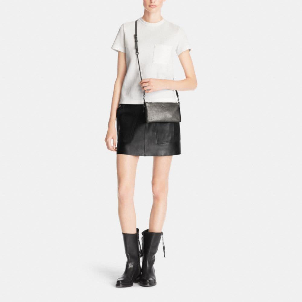 Herald Crossbody in Metallic Pebble Leather - Alternate View M