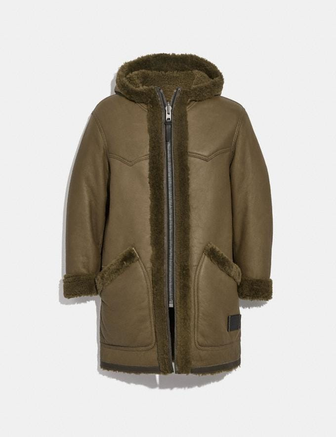 Coach Reversible Shearling Parka Olive