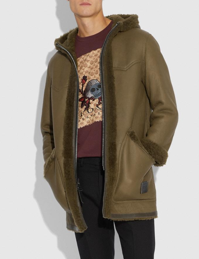 Coach Reversible Shearling Parka Olive  Alternate View 1