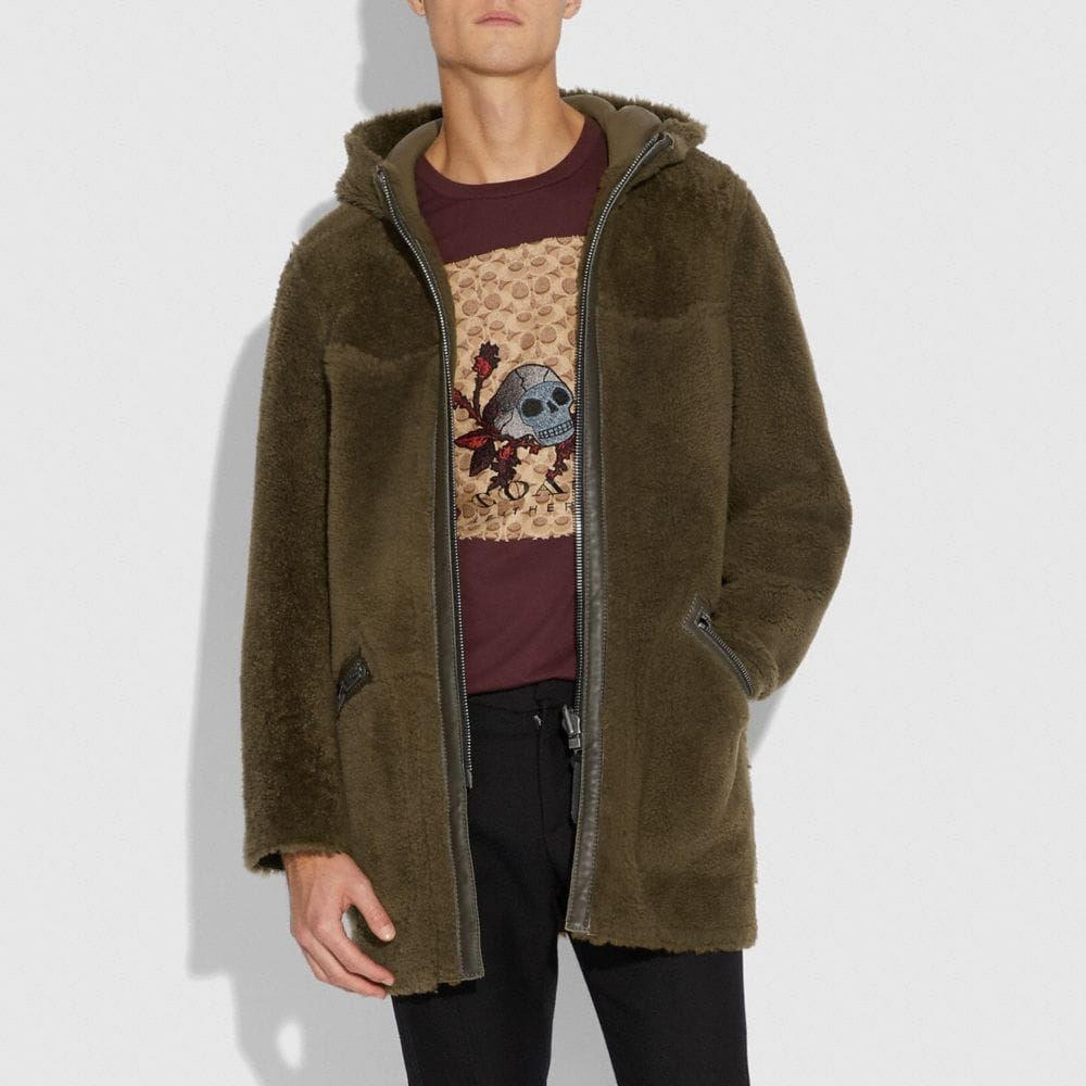 Coach Reversible Shearling Parka Alternate View 3