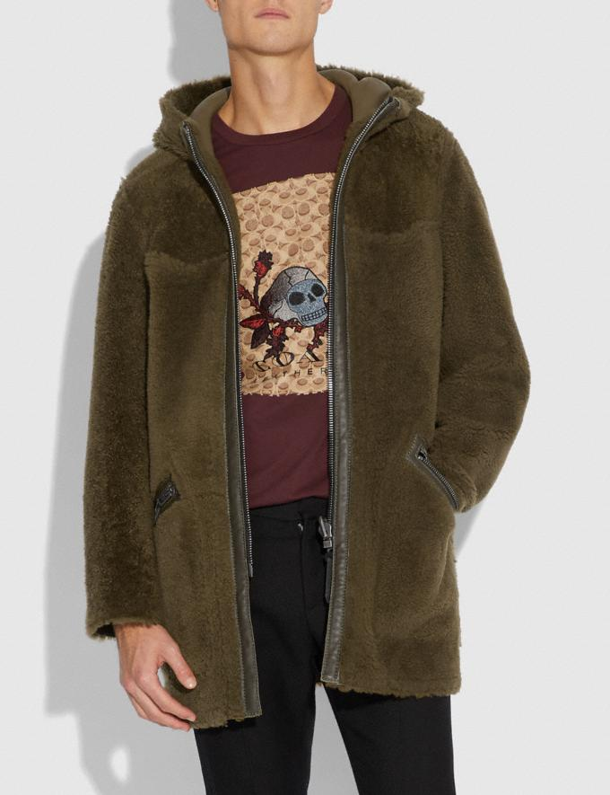 Coach Reversible Shearling Parka Olive  Alternate View 3