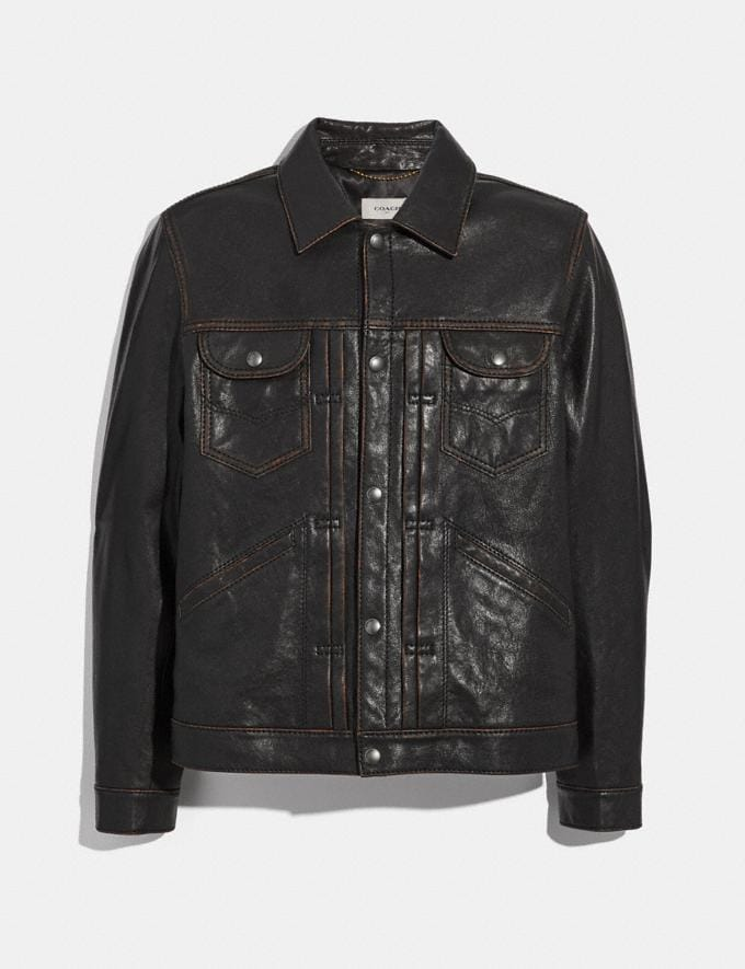 Coach Leather Jacket Black Rosewood
