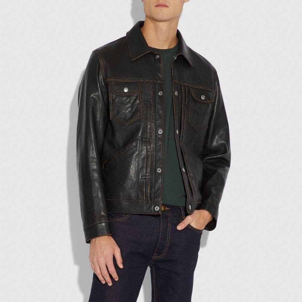 Coach Leather Jacket Alternate View 1