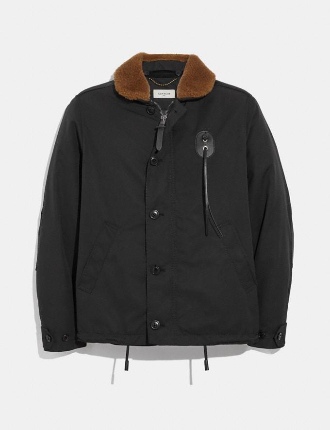 Coach Jacket With Shearling Collar Black