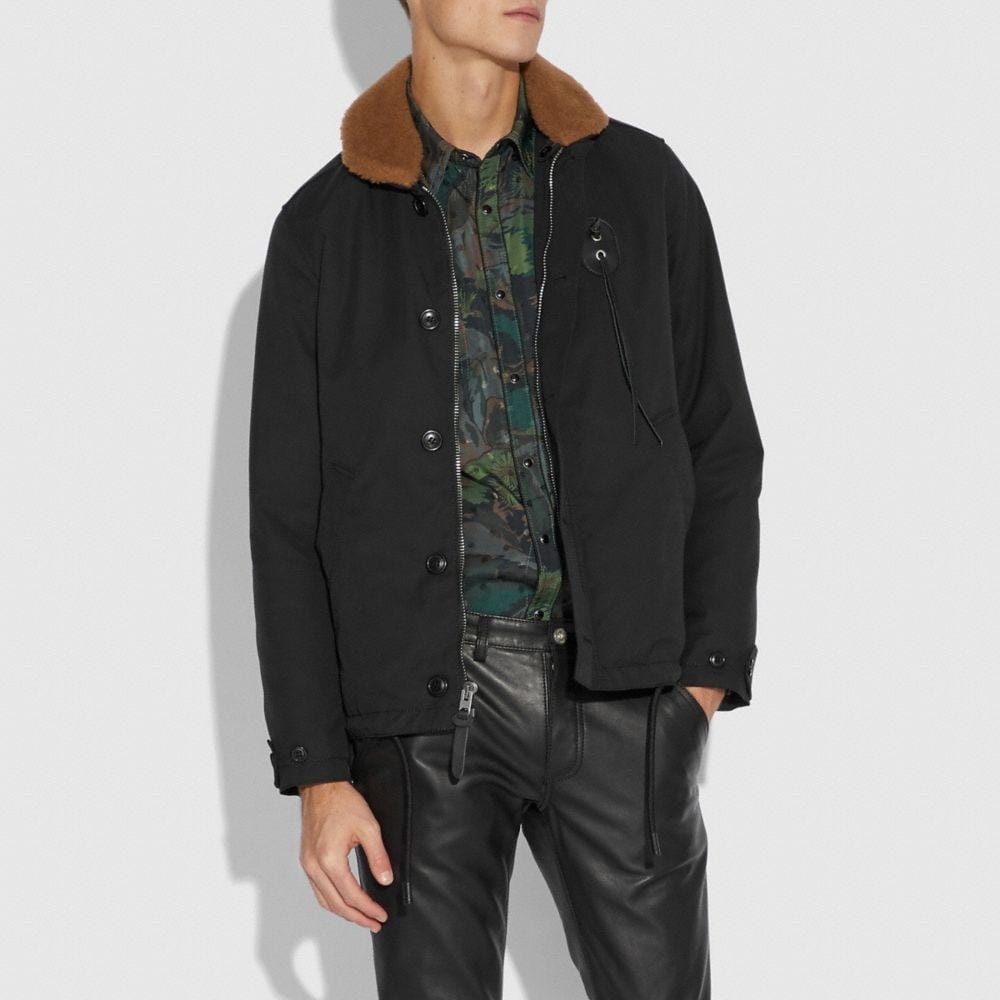 Coach Jacket With Shearling Collar Alternate View 1