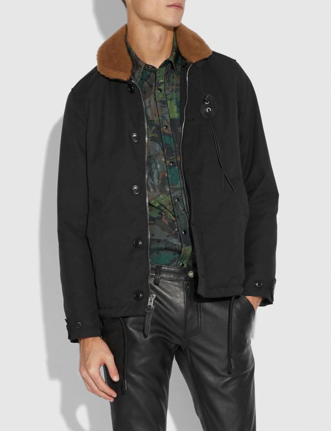 Coach Jacket With Shearling Collar Black  Alternate View 1