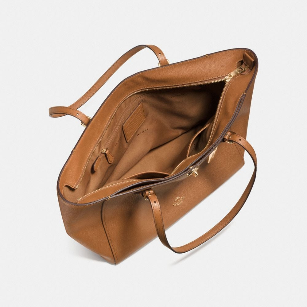 Turnlock Tote in Crossgrain Leather - Alternate View A3