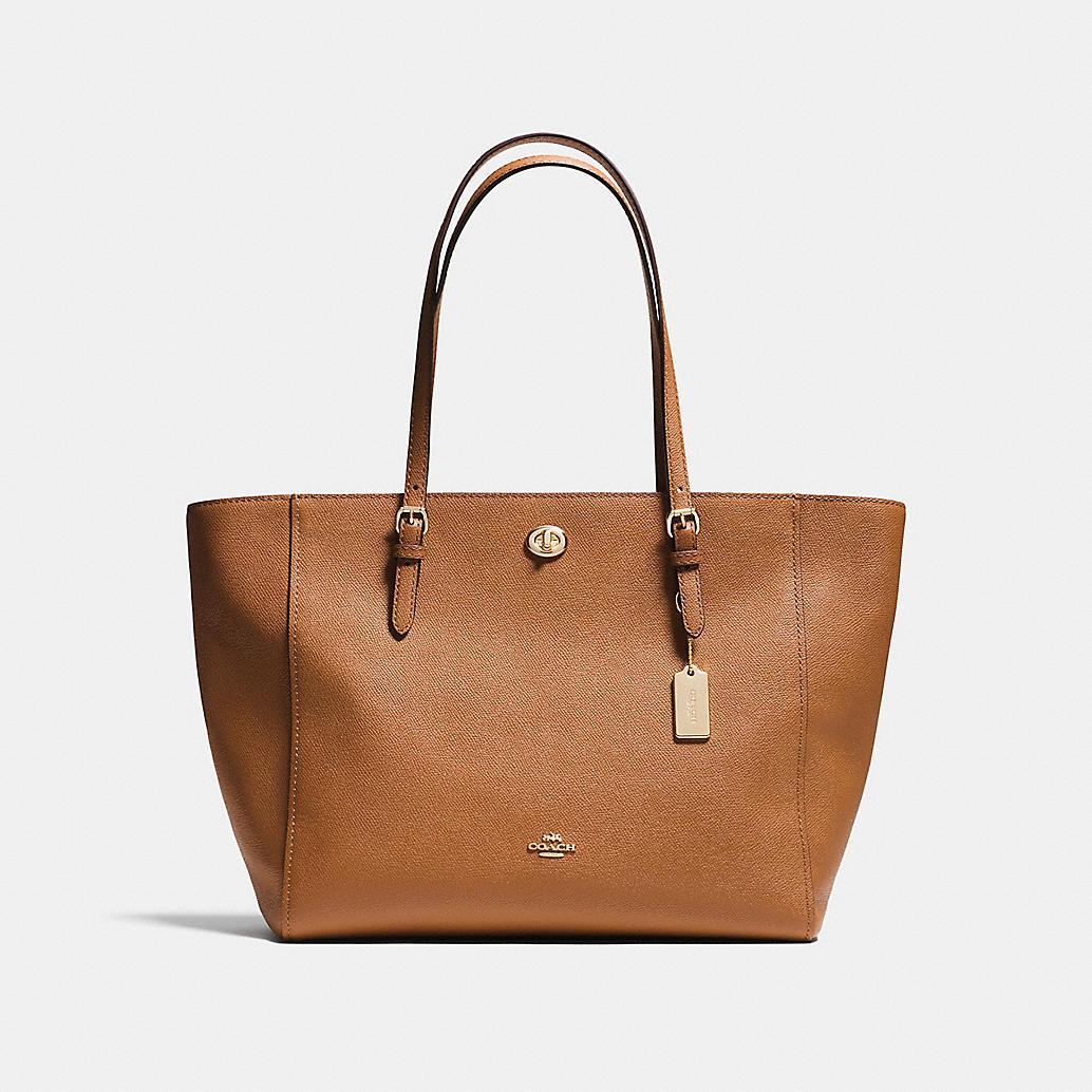 turnlock tote in crossgrain leather