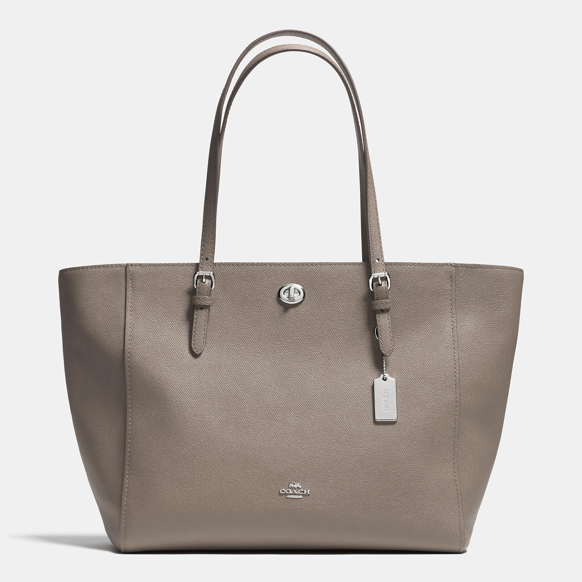 Silver leather tote bag uk - Turnlock Tote In Crossgrain Leather