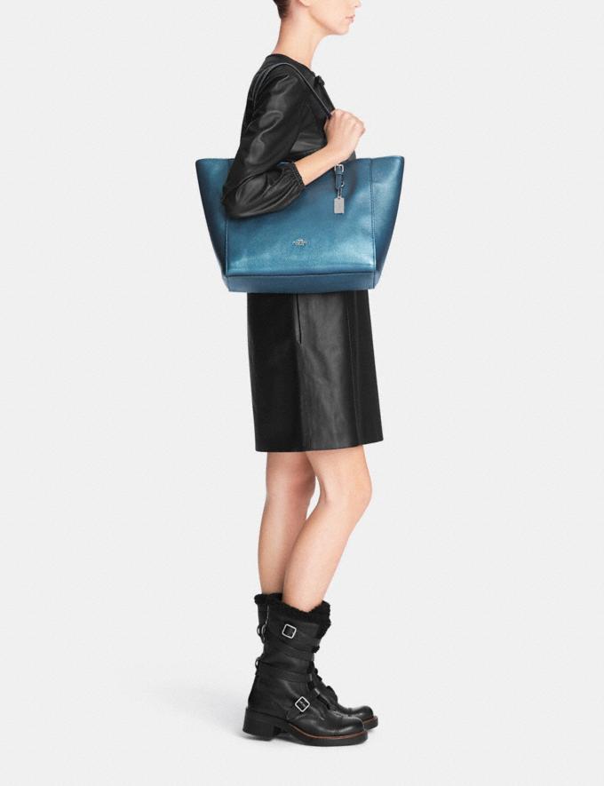 Coach Turnlock Tote in Metallic Pebble Leather Metallic Blue/Silver Women Bags Totes Alternate View 4
