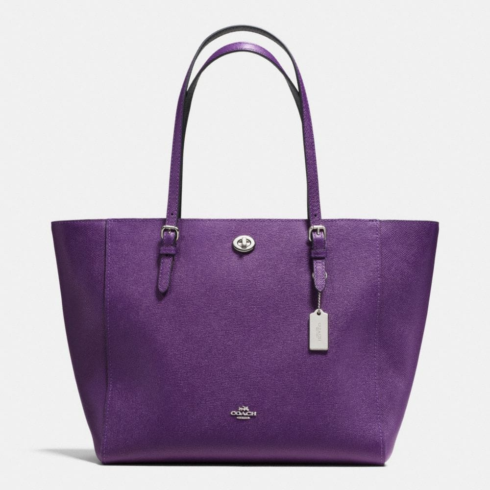 turnlock tote in bicolor crossgrain leather