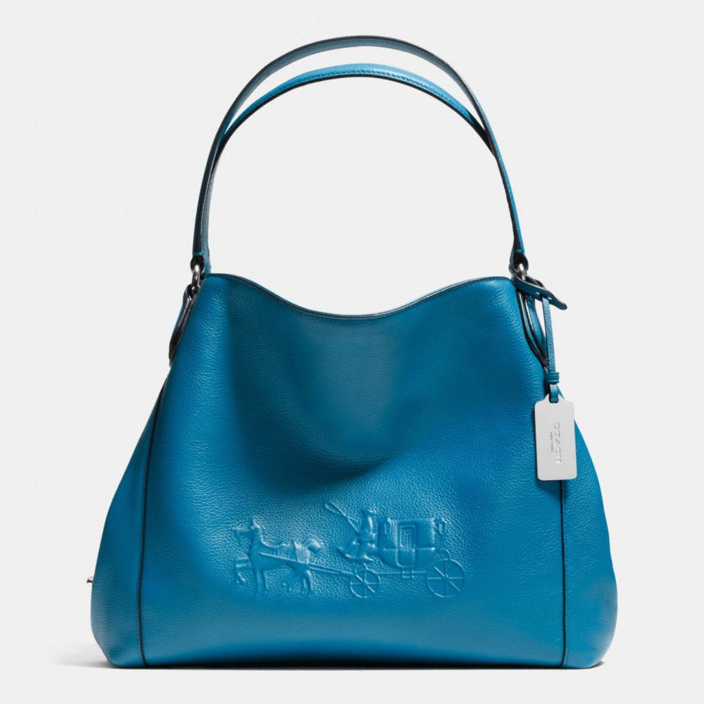 Embossed Horse and Carrage Edie Shoulder Bag 31 in Pebble Leather