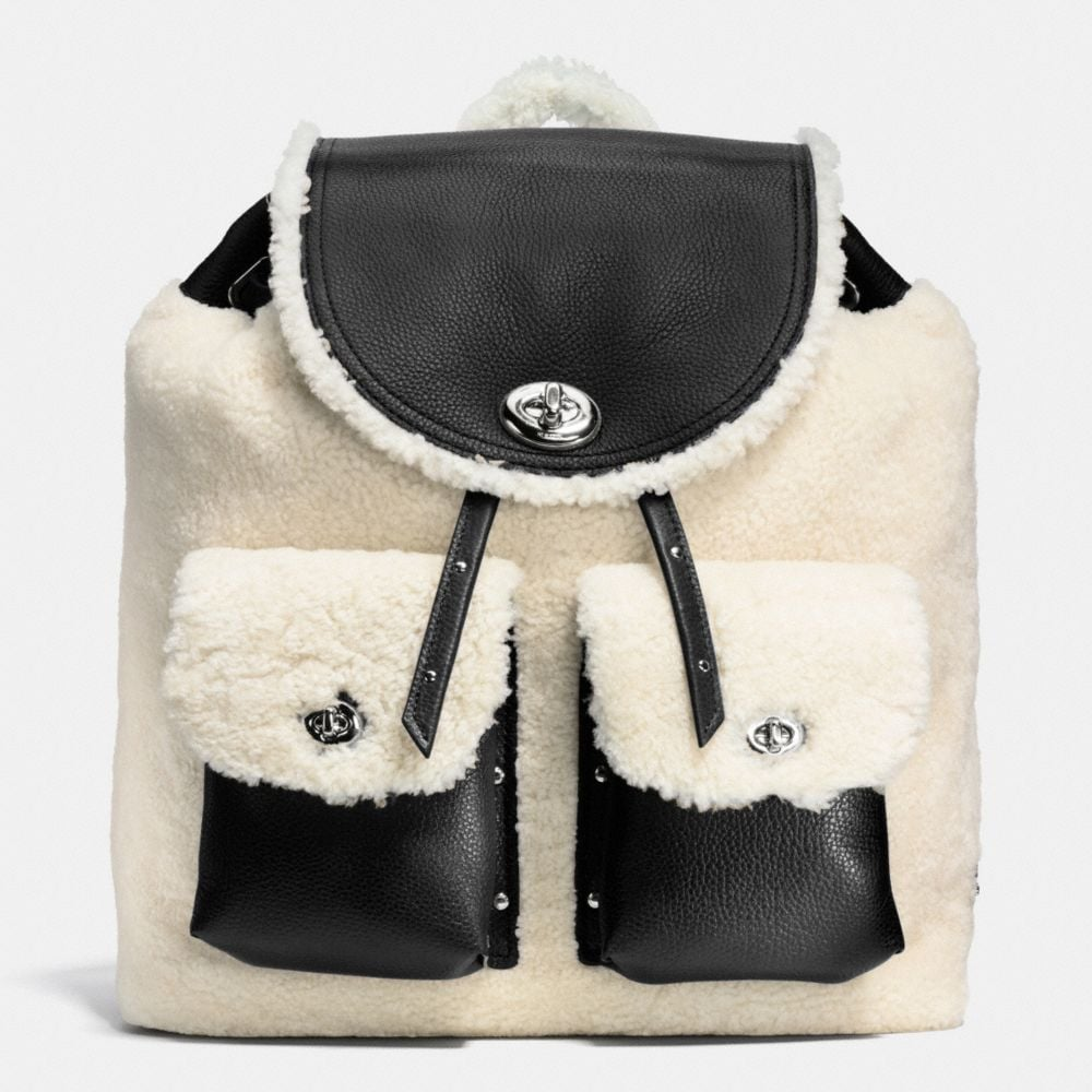 turnlock tie rucksack in shearling
