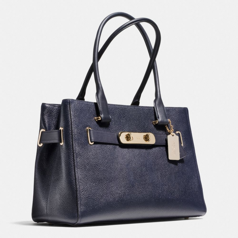 COACH SWAGGER CARRYALL IN POLISHED PEBBLE LEATHER - Alternate View A2