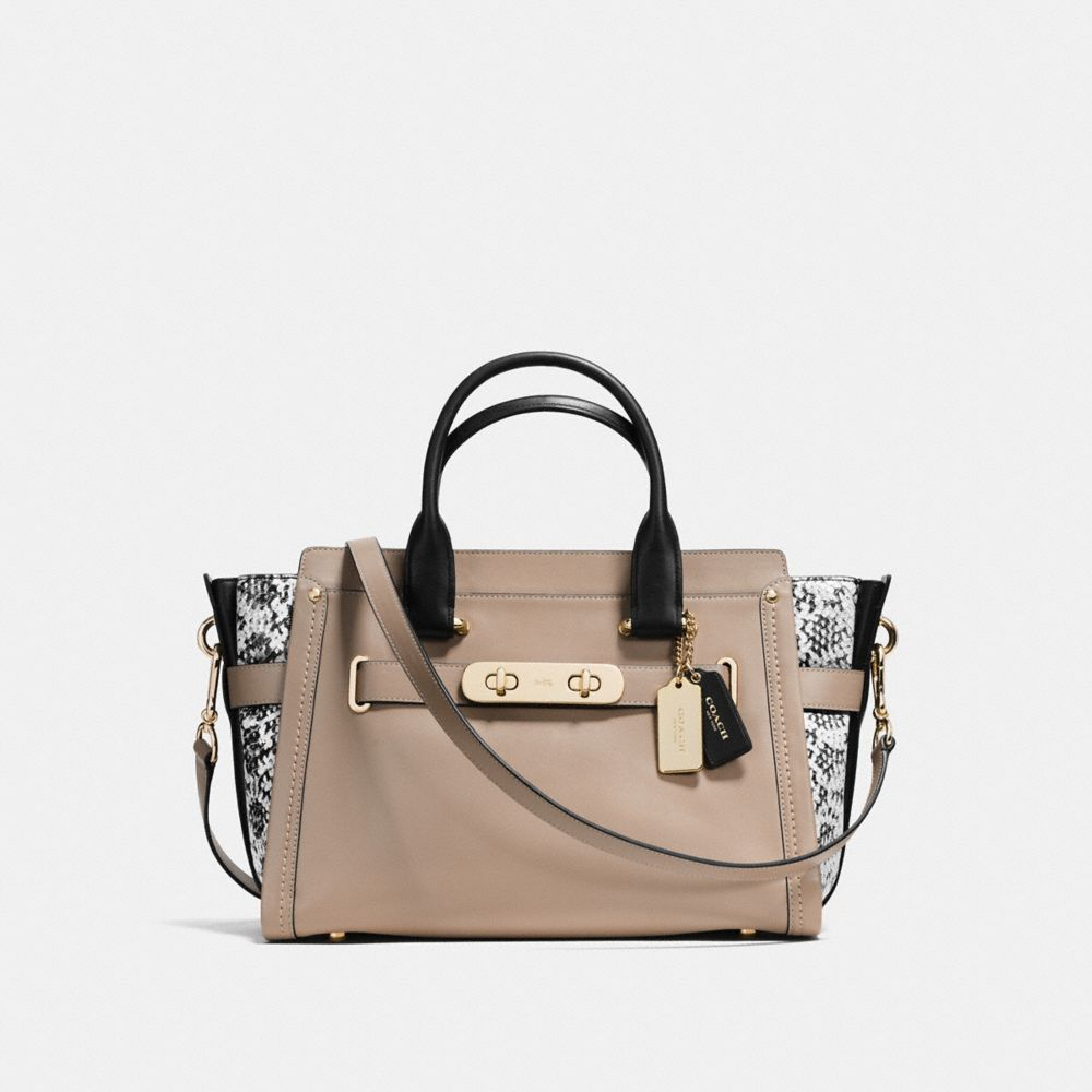 COACH SWAGGER IN COLORBLOCK EXOTIC EMBOSSED LEATHER