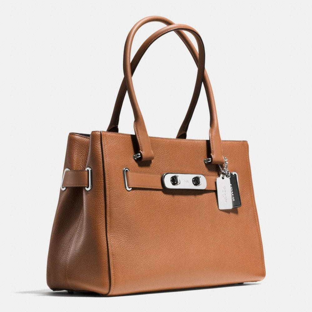 COACH SWAGGER CARRYALL IN COLORBLOCK PEBBLE LEATHER - Alternate View A2