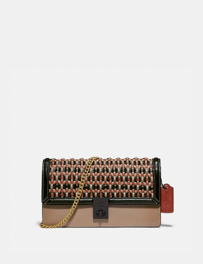 Coach Hutton Clutch With Weaving V5/Black Multi Women Collection Hutton