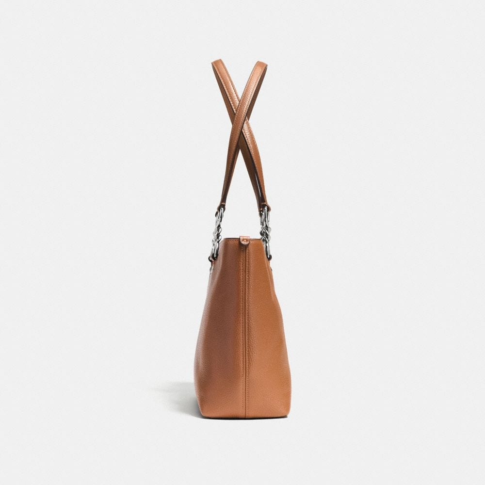 Sophia Small Tote in Polished Pebble Leather - Alternate View A1
