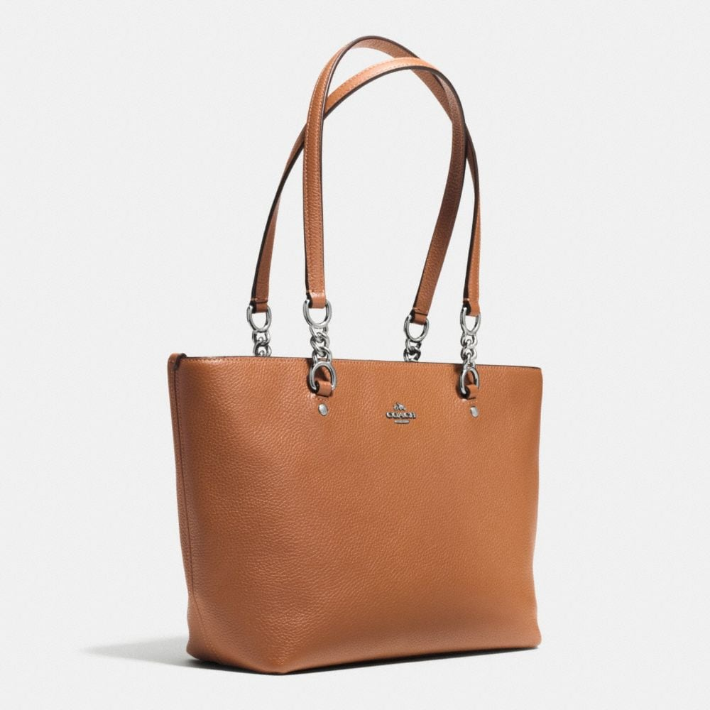Sophia Small Tote in Polished Pebble Leather - Alternate View A2