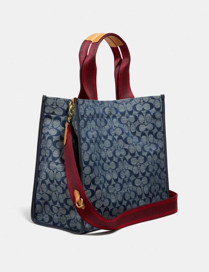 Coach Tote 34 in Signature Chambray B4/Chambray Midnight Navy Mlti Women Bags Totes Alternate View 1