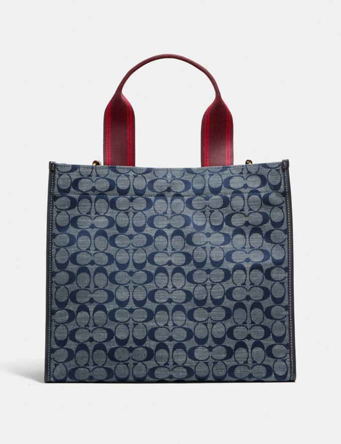 Coach Tote 34 in Signature Chambray B4/Chambray Midnight Navy Mlti Women Bags Totes Alternate View 2