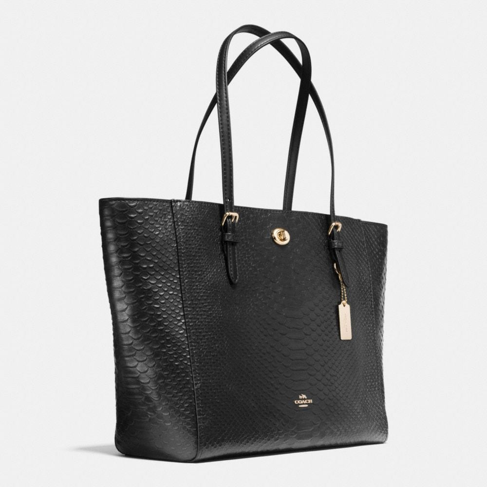TURNLOCK TOTE IN SNAKE EMBOSSED LEATHER - Alternate View A2