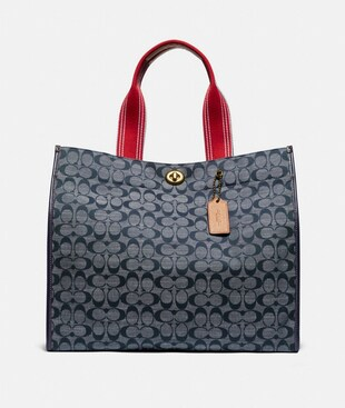 BORSA TOTE 40 IN CHAMBRAY FIRMATO