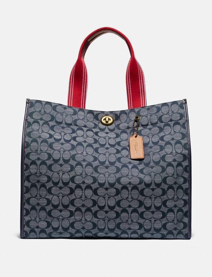 Coach Tote 40 in Signature Chambray Brass/Chambray Midnight Navy Mlti New Women's New Arrivals Collection