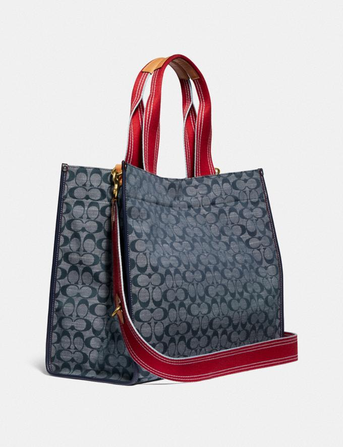 Coach Tote 40 in Signature Chambray Brass/Chambray Midnight Navy Mlti New Women's New Arrivals Collection Alternate View 1