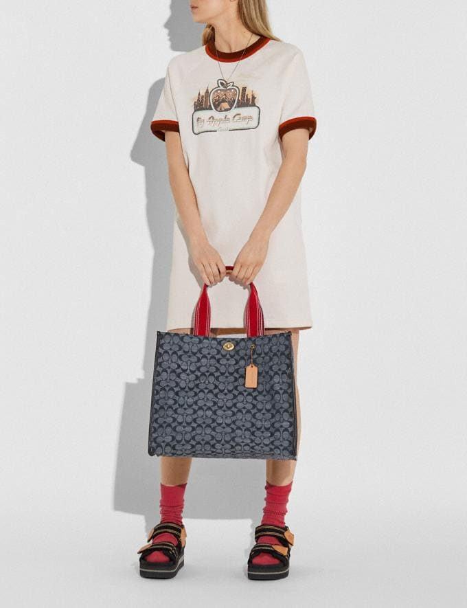 Coach Tote 40 in Signature Chambray Brass/Chambray Midnight Navy Mlti New Women's New Arrivals Collection Alternate View 3