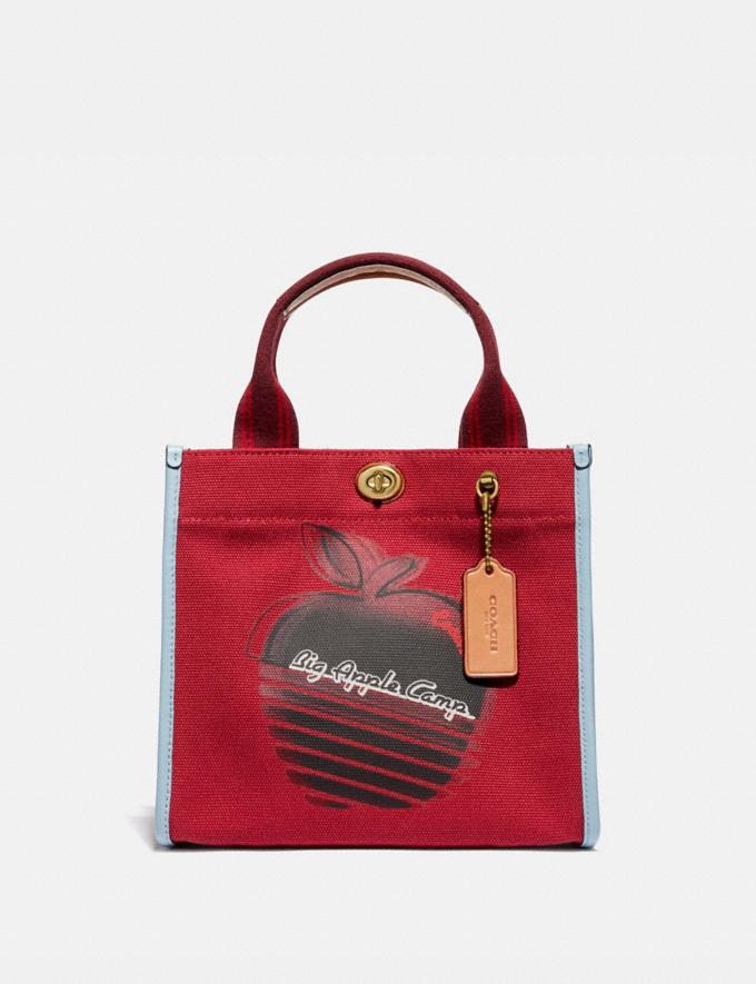 Coach Tote 22 With Retro Big Apple Camp Print B4/Red Apple Women Bags Totes