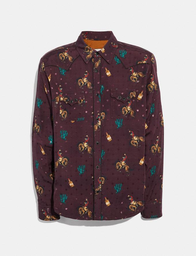 Coach Rodeo Print Western Shirt Wine