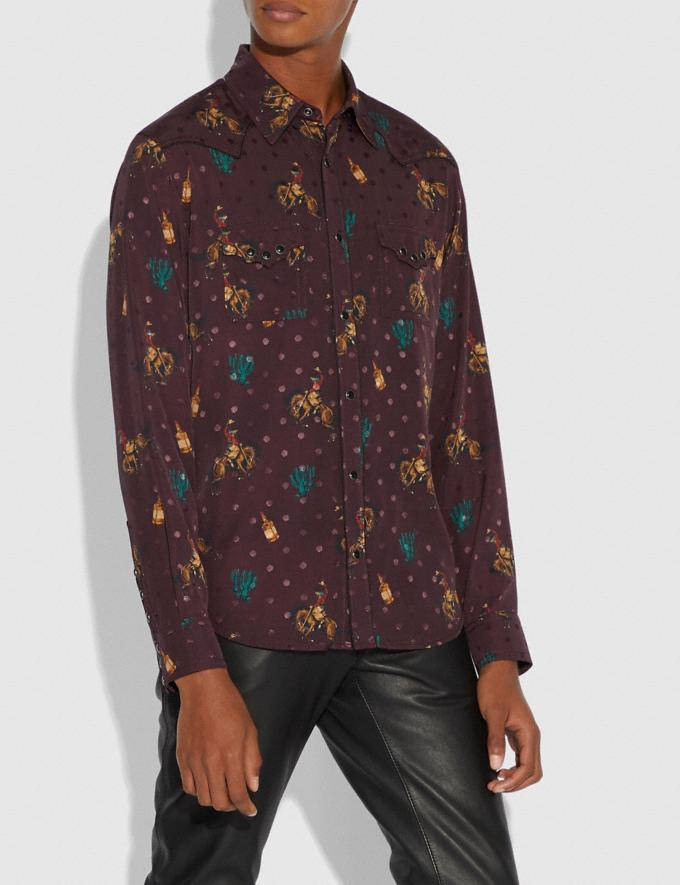 Coach Rodeo Print Western Shirt Wine  Alternate View 1