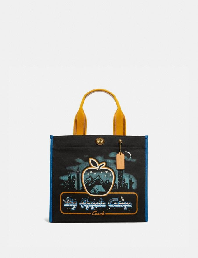 Coach Tote 34 With Skyline Big Apple Camp Print Brass/Black New Women's New Arrivals Collection