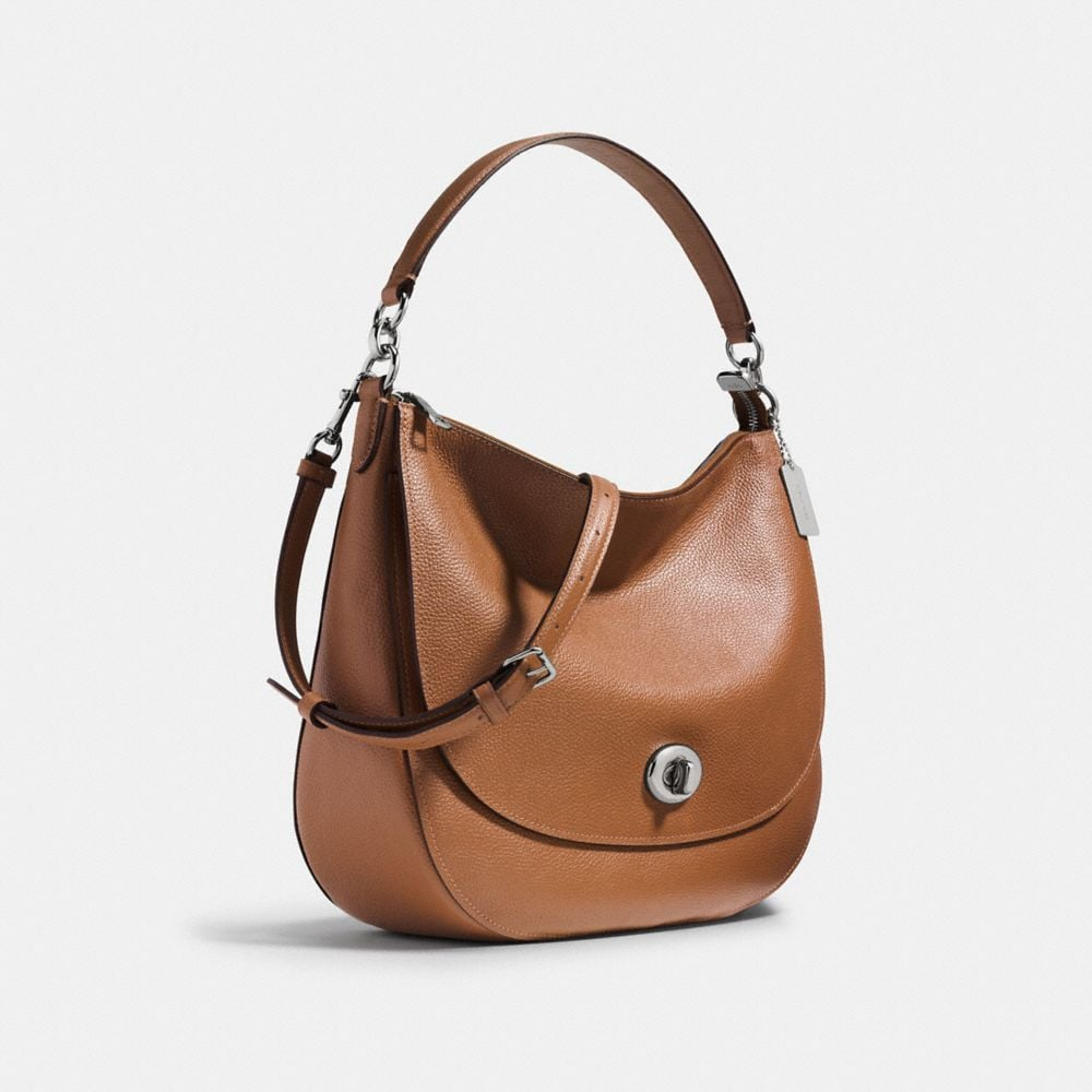 Coach Turnlock Hobo in Polished Pebble Leather Alternate View 2