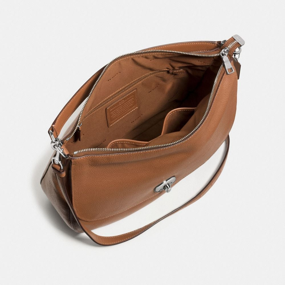 Coach Turnlock Hobo in Polished Pebble Leather Alternate View 3