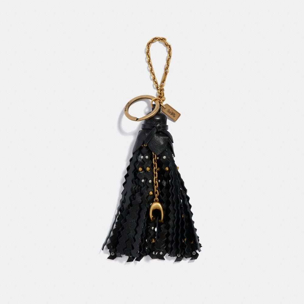 STUDDED TASSLE BAG CHARM